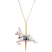 Porcelain rabbit pendant/handmade and handpainted with 24K gold, silver and colour, embellished with. crystal detail, come with 70cm gold plated necklace