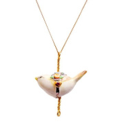 Porcelain bird pendant/handmade and handpainted with 24K gold, silver and colour, embellished with. crystal detail, come with 70cm gold plated necklace