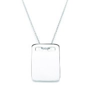 Daisy Silver Dog Tag Pendant Necklace