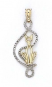 14ct Two-Tone Cat Outline Pendant - JewelryWeb