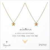 Dogeared Sisters Bow Necklace Set, Gold Dipped
