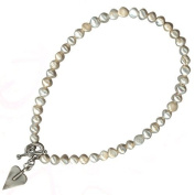 freshwater pearl necklace with brushed silver heart pendant