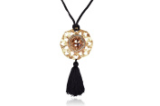Evatini Italian Brown Topaz Pierced Medallion with Tassel Necklace / Handmade in Italy
