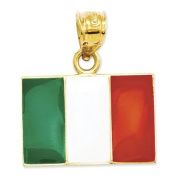 14ct Solid Enamelled Italy Flag Pendant - Measures 19x18mm - JewelryWeb