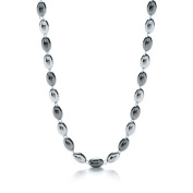 J-JAZ Silver & Ruthenium Oval Bead Necklace