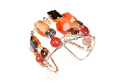 Evatini Italian Carnelian Stones and. Crystals Cuff Bracelet / Handmade in Italy