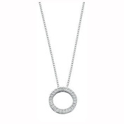 9ct White Gold 0.25ct Diamond Circle Pendant with 46cm Chain