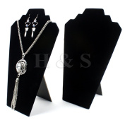 H & S® 2x Black Velvet Necklace Earrings Jewellery Shop Display Stand Bust Box Case -A