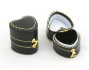 1 x Antique Style Leatherette Heart Shaped Small Ring Box - Suitable for a small ring!