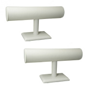 White Faux Leatherette T-Bar Display Stand for Jewellery Bracelet, Bangles, Watches, Pack of 2