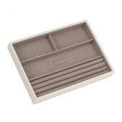 STACKERS 'CLASSIC SIZE' - New for 2013 - Vanilla Cream Ring/Bracelet Section STACKER Jewellery Box with Mocha Spot Lining.