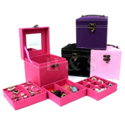 H & S® CUBE Ring Necklace Bracelet Jewellery Display Storage Vintage Box Case Organiser - Purple