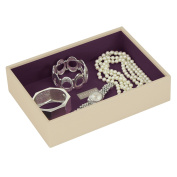 ** NEW **Jewellery Box Stacker with Single Open Deep chamber Medium sized in Cream with New Purple Lining