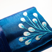 Silk Jewellery Roll, Fairtrade, Sapphire Blue Silk with Embroidery