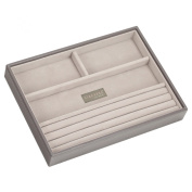STACKERS 'CLASSIC SIZE' Mink Ring/Bracelet Section STACKER Jewellery Box with Grey Velvet Lining.