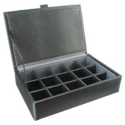 15 Piece Cufflink Box Grey