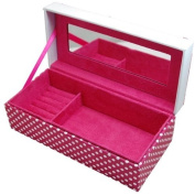 Mele Pink Polka Dot Love Jewellery Box with Mirror