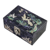 Mother of Pearl Birds and Pine Tree Design Lacquered Wooden Purple Mirrored Jewellery Trinket Keepsake Treasure Gift Box Case Chest Organiser