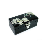 Mother of pearl wooden lacquer jewellery box, jewellery case with mirror, black flower handmade gift