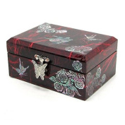 Mother of pearl wooden jewellery box, red butterfly handmade gift