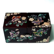 Mother of Pearl Twin Cubic Butterfly Travel Asian Lacquer Brown Wooden Jewellery Trinket Keepsake Treasure Gift Drawer Jewel Box Case Holder Organiser with Arabesque Flower Design