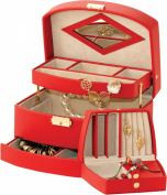 Leathersmith Ruby 1735R Red Bonded Leather Jewellery Box with traveller