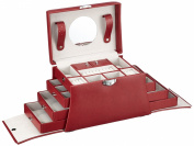 Davidt's Euclide Large Synthetic Jewel Box with Side Drawers in Red