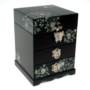 Mother of Pearl Imaginary Flowers Design Lacquered Wooden Asian Handcrafted Mirrored Drawer Jewellery Trinket Keepsake Treasure Box Ring Case Chest Organiser