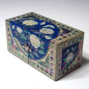 Mother of Pearl Peony Painting in Blue Design Lacquered Wooden Asian Jewellery Trinket Keepsake Treasure Gift Box Ring Case Chest Organiser