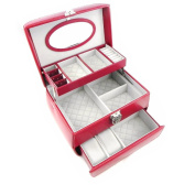 """Jewellery box leather """"Acapulco"""" red."""