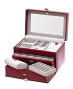 Davidt's Chrome Red Leather Lockable Jewellery Box