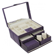 Dulwich Designs Naples Mauve Leather Jewellery Box (XL) With Traveller.