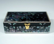 Mother of Pearl Flower and Bird Design Lacquered Black Wooden Asian Handcrafted Mirrored Jewellery Trinket Keepsake Treasure Box Case Chest Organiser