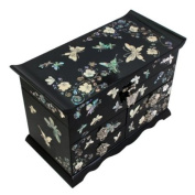Mother of Pearl Asian Black Lacquer Women Wooden Mirror Jewellery Trinket Keepsake Treasure Gift Girls Jewel Ring Drawer Box Chest Case Organiser with Butterfly and Flower Design