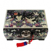 Mother of Pearl Black Birds Pine Tree Design Lacquered Wooden Mirrored Lock Key Jewellery Trinket Keepsake Treasure Box Case Chest Organiser
