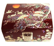 Wood lacquer jewellery box, handmade mother of pearl gift, pine and crane red