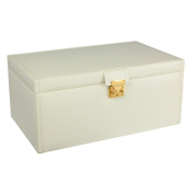 Dulwich Designs Pretty Extra Large Cream Leather Ladies Jewellery Box