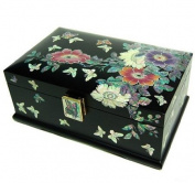 Wooden jewellery box with mirror, lacquer wood jewellery case, handmade mother of pearl gift, wild flowers 2