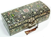 Wooden jewellery box, handmade mother of pearl gift, lacquer butterfly and flowers, oriental jewellery case with mirror