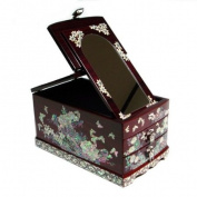 Mother of Pearl Inlay Red Pine Wood Peony Flower Design Jewellery Case Trinket Keepsake Treasure Gift Box Chest Organiser