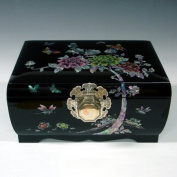 Mother of Pearl Inlaid Decorative Peony Design Lacquered Black Wooden Asian Handcrafted Art Yin Yang Lock Key Jewellery Trinket Keepsake Treasure Box Ring Case Chest Organiser