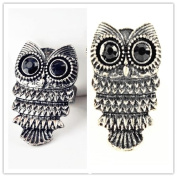 Vintage Art Deco Retro Style Antique Silver cute Owl Body Ring J016