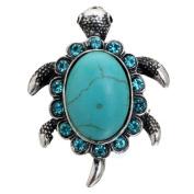 Yazilind Tortoise . Crystal Tibetan Silver Turquoise Ring Wide:3.6cm Adjustable