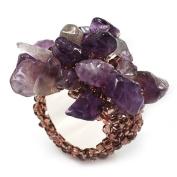 Lavender Semiprecious Chip Cluster Flex Ring