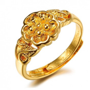 JewelryWe New Gold Plated Plum Flower Ring Adjustable Open Finger Band for Promise, Eternity, Engagement and Wedding Size J - Z+3
