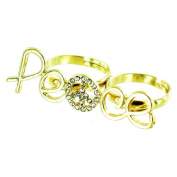 ilovefj Gold Double Finger Peace Sign Ring