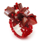 Coral Red Shell Chip & Freshwater Pearl Cluster Flex Ring