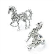 Bling Online Large Oversize Horse Pony Ring with Crystal Detail.