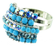 Blue on Silver Plated Four Row Simple Bling Cocktail Ring