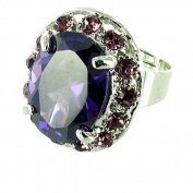 Purple on Silver Plated Clasped Round Solitaire Ring